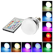 E27 5W 110mm Long RGB Color-Changing Light LED Ball Bulb with Remote Control(85-265V)