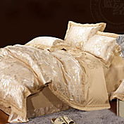 4-Piece European Style Havana 100% Cotton Beige Jacquard Floral Duvet Cover Set