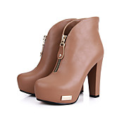 Tasteful PU Chunky Ankle Boots with Zipper Party Shoes(More Colors)