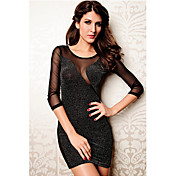 CC Women's Black Long Sleeve Sexy Nightclub Ol dress