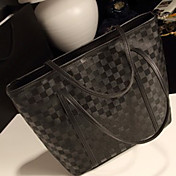 Women's Stylish Checkerboard Large Tote(Lining Color On Random)