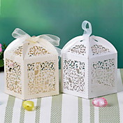 Flower Design Laser Cut Box With Ribbon(More Colors)-Set of 12