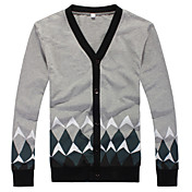 Fitspace Men's Geometric Pattern Long Sleeve Cardigan Gray