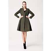 TS Simplicity Double-breasted Swing Green Coat