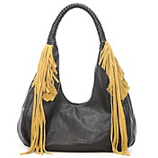 VEMO Women's Tassels Hobo Bag Black