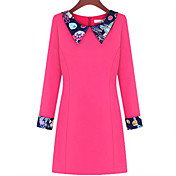 SISTERS Women's Pan Collar Floral Long Sleeeve Dress