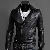 REVERIE UOMO Men's Black PU Leather Slim Fit Cool Jacket