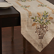 Traditional Linen Beige Floral Table Runners