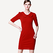 MIUSOL Red Doll Collar Bodycon Dress