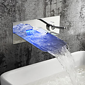 Chrome Finish Color Changing LED Waterfall Wall Mount Bathroom Sink Faucet