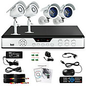 Zmodo 4 CH Key DVR Outdoor Day Night CCTV Home Security Surveillance 600TVL Camera System