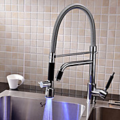 Contemporary Chrome Finish LED Rotatable Tall Kitchen Faucet