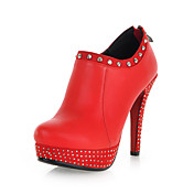 Tasteful Leather Platform Stiletto Heel Ankle Boots with Rivet Casual Shoes(More Colors)