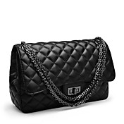 QIGIRL Classic Rhombus Chain PU Black Messenger Bag