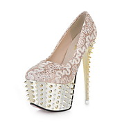 Tasteful PU Pumps with Lace Flower and Rivet Party Shoes(More Colors)