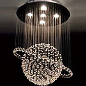 Modern Crystal 5 Light Chandelier In Tellurion Design