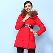 HITORAT Women's 2013 New Model Fur Collar Hoodie Pure Color Coat Red
