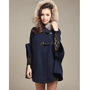 Weimeijia Hoodie Cape Tweed Coat