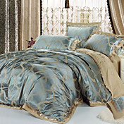 4-Piece European Style Havana 100% Cotton Grey and Blue Jacquard Floral Duvet Cover Set