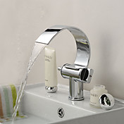 Special Design Brass Chrome Finish Waterfall Curve Spout Bathroom Sink Faucet
