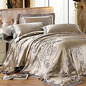 4-Piece Modern Style Mizone Silk Gold Jacquard Floral Duvet Cover Set