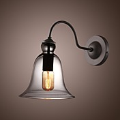60W Retro Wall Light with Floral Glass Shade and Metal Bracket