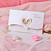 Heart Design Wedding Invitation with Flower- Set of 50