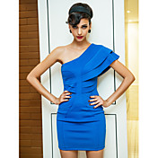 TS Layered Ruffle One Shoulder Bodycon Dress