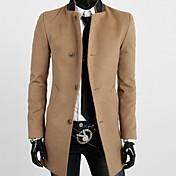 INMUR Men's Stand Collar Khaki Tweed Coats