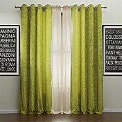 (Two Panels) Modern Life in the Green Energy Saving Curtain with Sheer Set