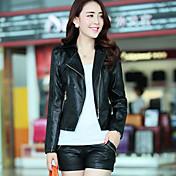 SIBOSHE Women's Fashion Splicing Zipper Slim Long Sleeve PU Leather Jacket(Black)