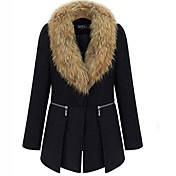 Smile Woman Women's Black Medium Removable Fur Neck Tweed Coat