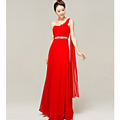 Four-Season Trees One Shoulder Floor-Length Bridesmaid Dress(Diamond Pattern Random)