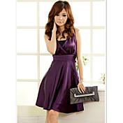 JK2 Women's Purple Elegant V Neck Skater Dress