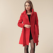 Smile Woman Women's Red Fit Fleece Tweed Coat