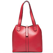 ISHE  Women's  Vintage Bucket Shape PU Shoulder Bag(Red)