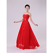 Qiaorui Fashion Waist Strapless Long Bridesmaid Dress(Red)
