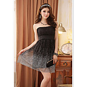 JK2 Women's Black Mini Babysbreath Grenadine Low-Cut Full Dress