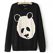 Women's Round Collar Panda Pattern Knit Sweater