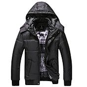 PPZ Men's Casual Slim Removable Hoodie Short Coat(Black)