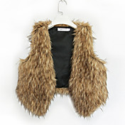 Sleeveless Collarless Faux Fur Party/Casual Vest