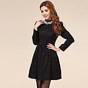 LOONGZY Women's Black Lace Fit Long Sleeve Lace Dress