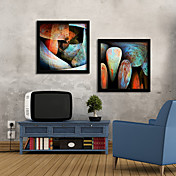 Pebble in Colors Abstract Framed Canvas Print Set of 2