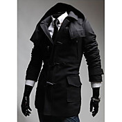 LANGDENG Men's Black Oxhorn Buckle Hoodie Woolen Jacket
