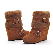 Moolecole Women's Brown Soft Leather Rubber Sole Cony Hair Warm Comfortable Platform Boots