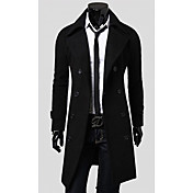 LANGDENG Men's Black High Quality  Big Size Modern Double Breast Long Jacket