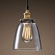Vintage 1 Light Pendant In Glass Shade