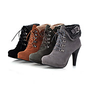 Flocking Cone Heel Platform Booties/Ankle Boots(More Colors)