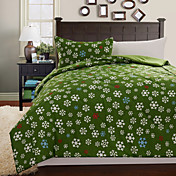 3-Piece Green Snow Christmas Quilt Set