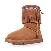 Trueway Women's  Winter New Model Tassel Flange Folk Style Tall Snow Boot